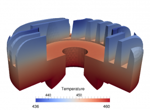 The method here presented guarantees that the average temperature on the upper face is in the interval [444.30, 445.80].