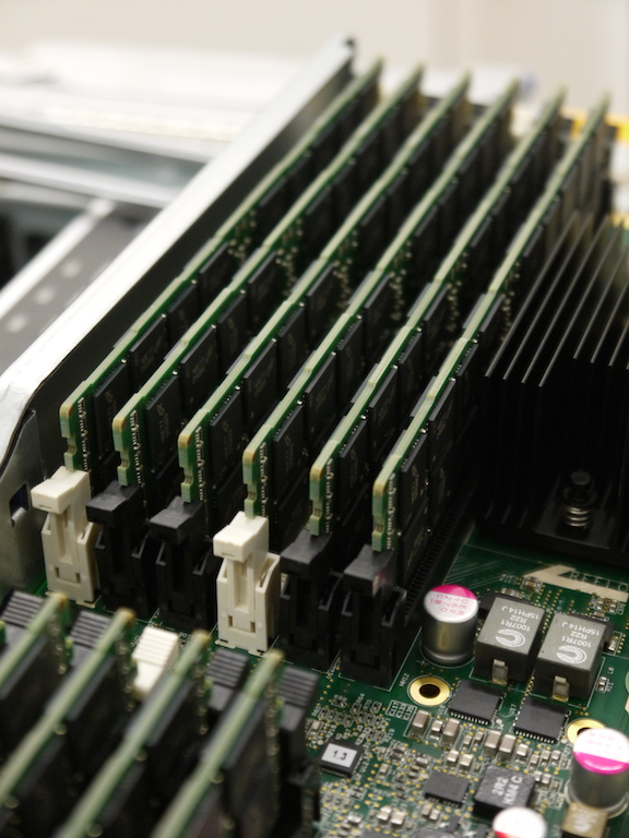 Each RAM bank (12 per CPU chassis) contains 128GB of ECC ram for a total of 3TB.